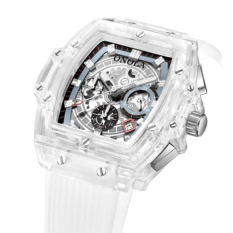 luxury mens wristwatches Transparent quartz waterproof Multifunction man watches square white fashion clocks Innrech Market.com