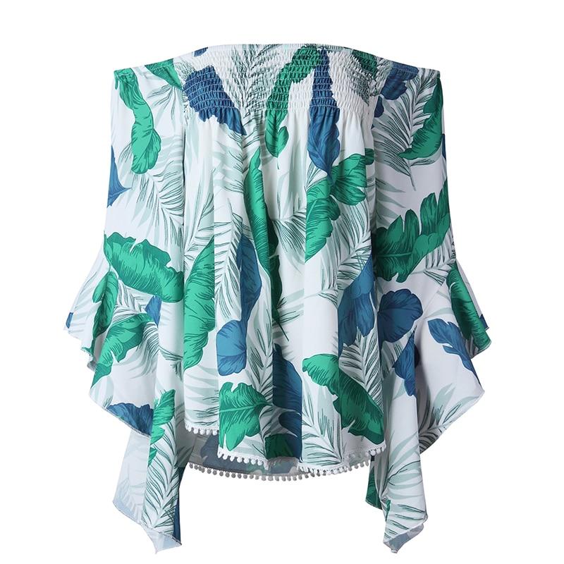 Hoja Imprimir verde Manga De amarillo Flare Blusa Camisa Boho Superior Túnica Verano Hombro Casual Azul Mujeres Ws8449t Ruffle Playa Estilo xUIHqtwz5w