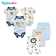 6PCS/LOT Newborn Baby Rompers+ Pants O neck  Baby Jumpsuit 100% Cotton Baby Girl Clothing Pants Ropa Bebe New Baby Clothes Sets