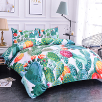 ZEIMON Home Textile Plant Bedding Set Cactus Duvet Cover Set Flowers Bed Set 2/3pcs Bedclothes Brief Duvet Cover + Pillowcase