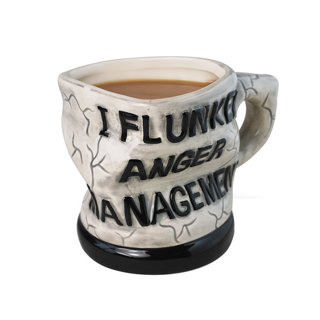 Creative Funny Ceramic Cup Twisted Coffee Cup Distorted Mug Anger