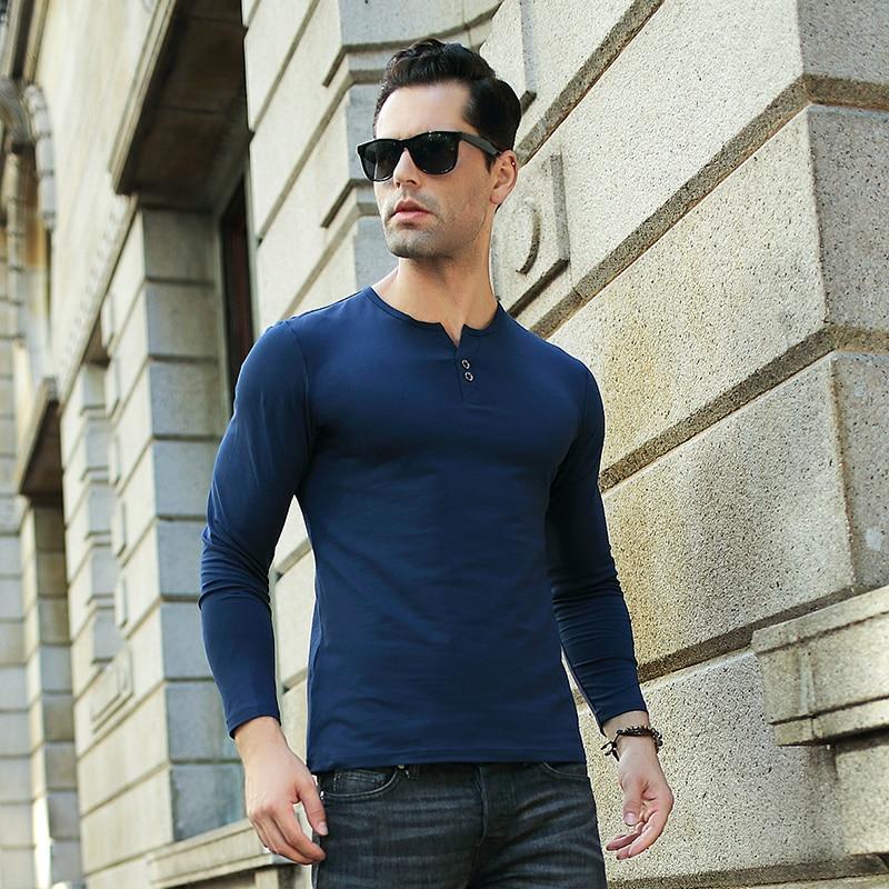 e8cd0c778a7a Men S Henley Shirt 2017 Long Sleeve Cotton Tees Slim Fit T Shirt ...