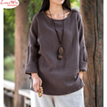 Asymmetrical Hem Back Longer Off-shoulder Full Sleeve Natural Linen Soft Top Women Vintage Large Size T-shirt Blouse