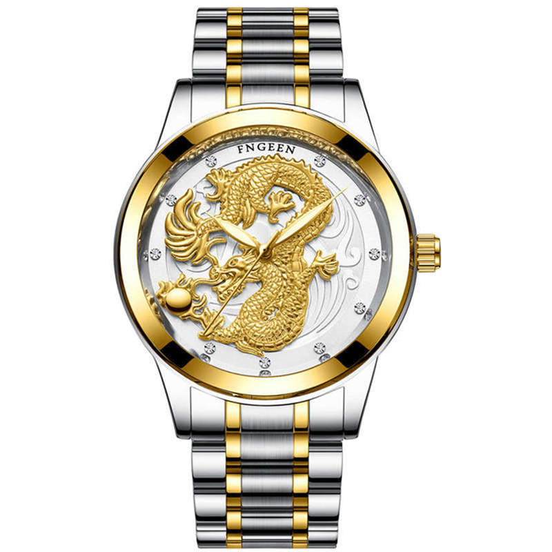Watch Mens Watches Gold Stainless Steel Wristwatch Man Quartz Clock 3D Dragon Right Justice Waterproof Luxury Men Gift FNGEEN