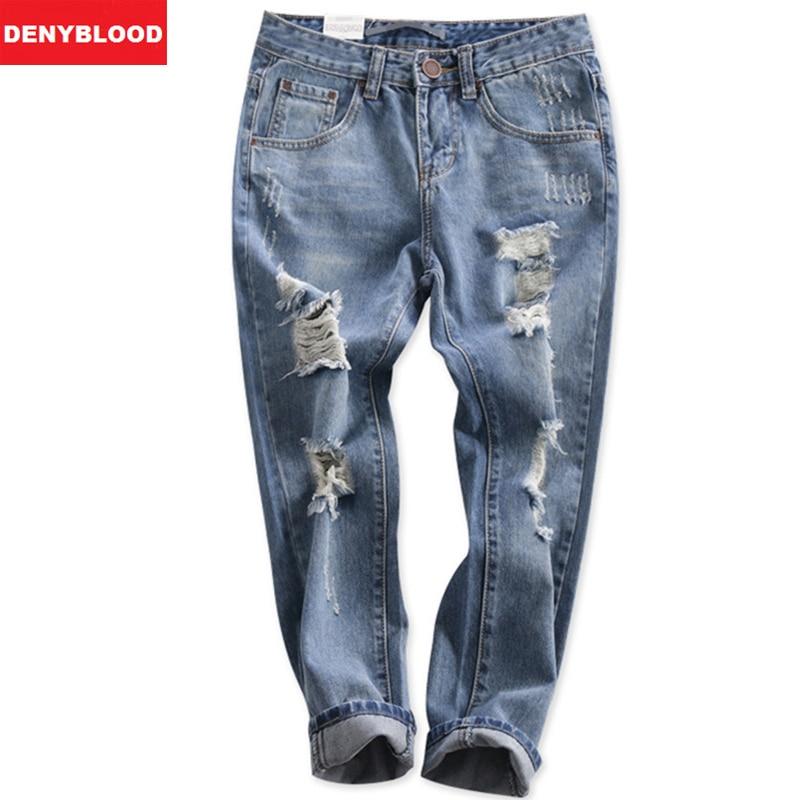 ФОТО 2016 Ripped Boyfriend Jeans Distressed American Style Cross-pants Casual Loose Vintage Harem Denim Pants for Womens 5119
