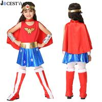 JOCESTYLE Fashion Kids Child Girls Halloween Clothes Girl Cosplay Costume Superman Fancy Dress Party Outfit Children