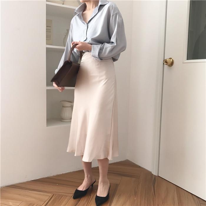 summer elegant high waist women long skirt solid A-line faldas mujer female solid slim jupe femme saia longa 8