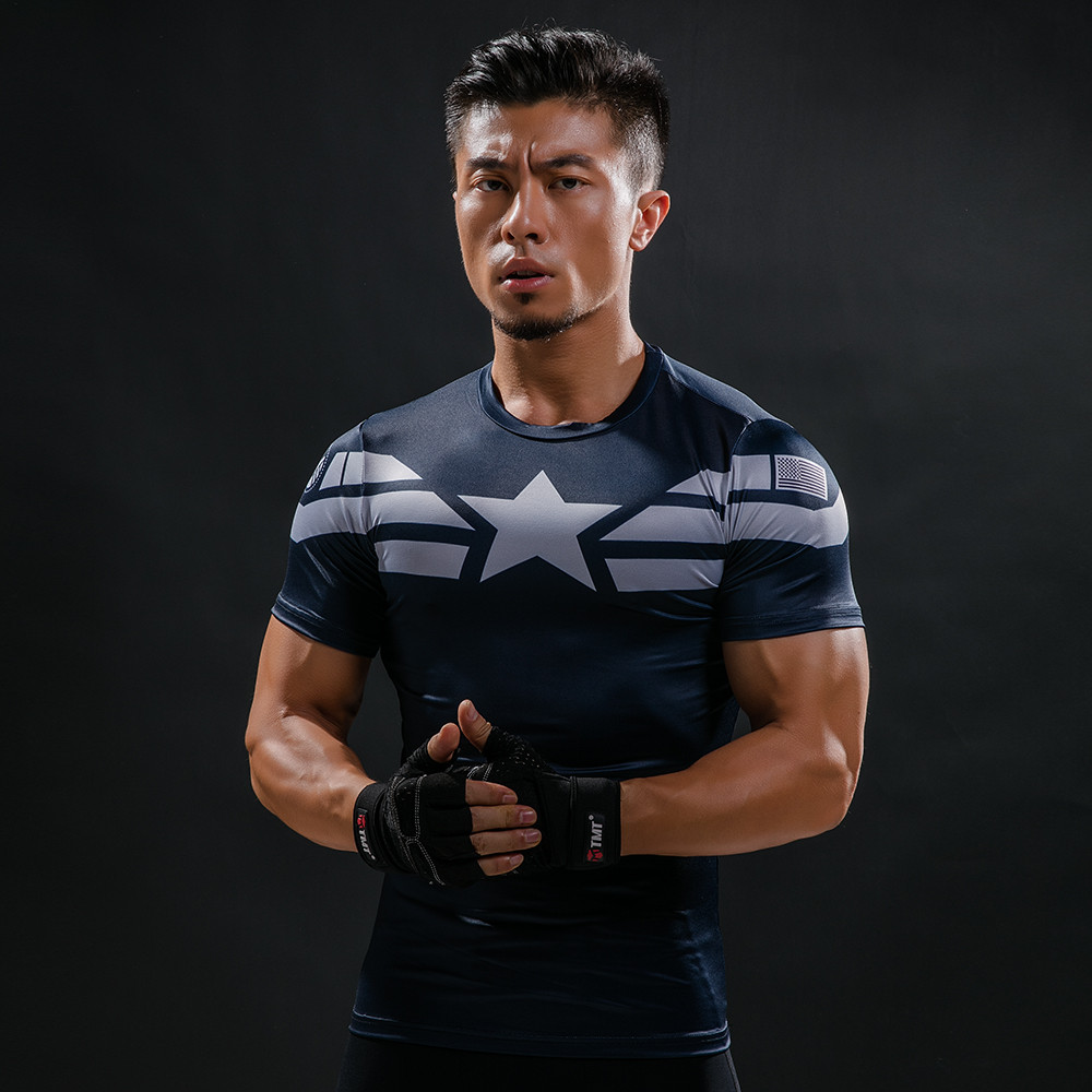 Captain America 3D Printed T-shirts Men Compression superman Shirt Short Sleeve Cosplay Halloween Costume For Men Tops Male
