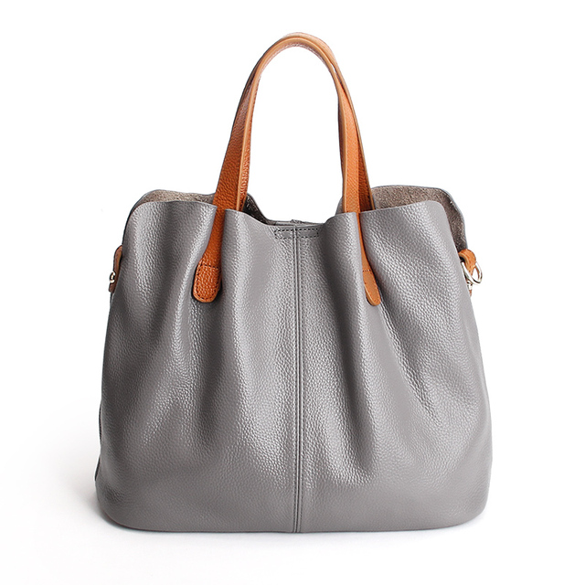 Genuine Leather handbags head layer cowhide litchi grain women handbags fashion Portable shoulder messenger bags composite bags 4