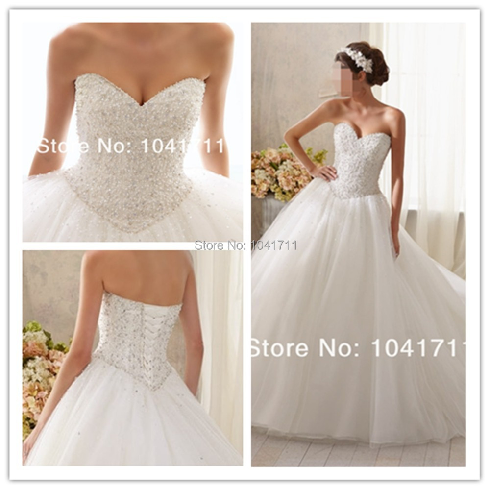 48591e7ab2e New Fashion Ball Gown Bridal Dresses Sweetheart Sparkling Crystal Beading  on Tulle Wedding Dresses 2015 5216-in Wedding Dresses from Weddings    Events on ...