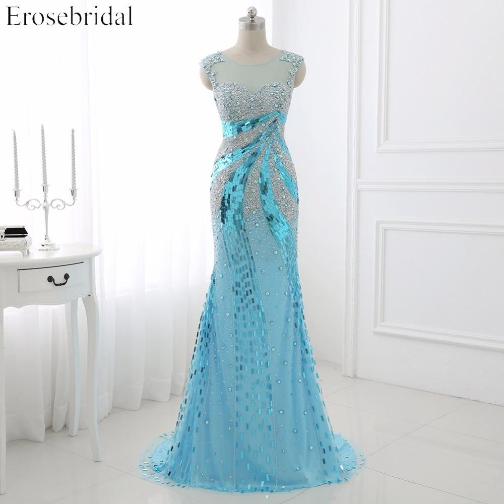 Prom Dresses Erosebridal 2019 Sparkly Beading Mermaid Evening Party Gowns Sheer Neck Gala Dress Illusion Back