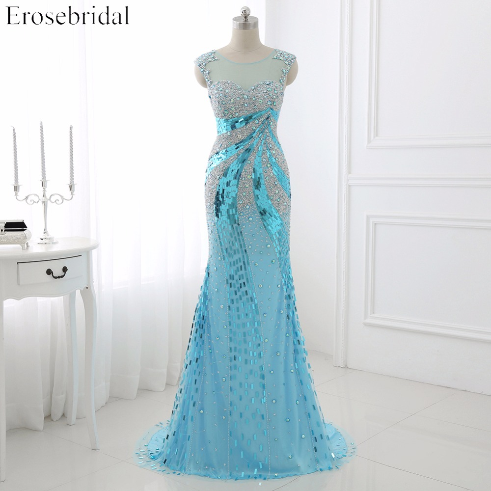 Prom Dresses Erosebridal 2017 Sparkly Beading Mermaid Evening Party Gowns Sheer Neck Gala Dress Illusion Back Custom Made
