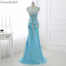 2016 Real Photo Beading Tulle Mermaid Prom Dress Скуп Мойын Sequined Sweep Train Cap Bleu Party Dress WYP038