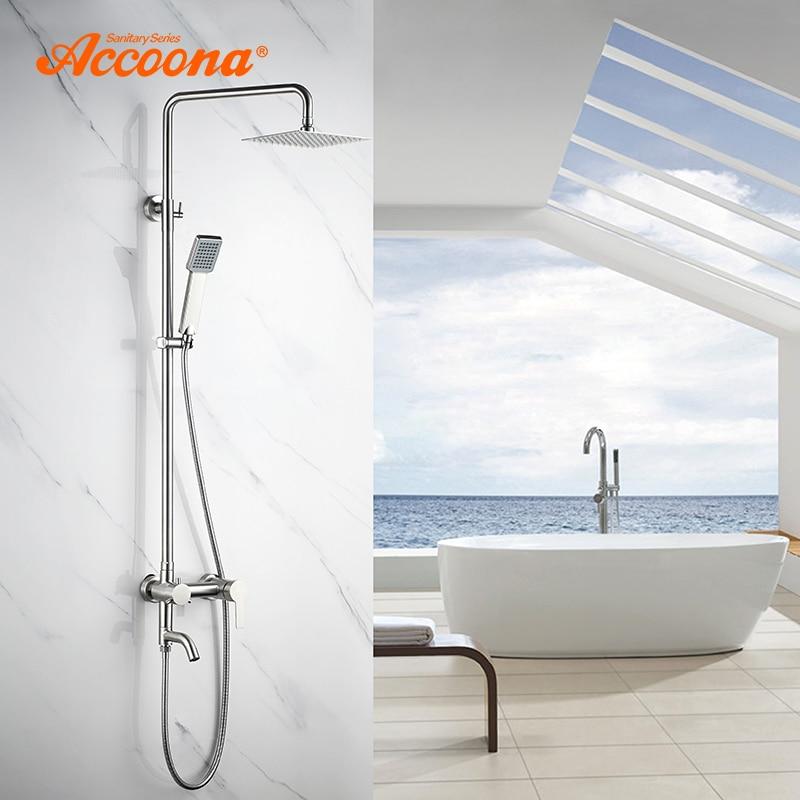 Accoona ванная душ кран Набор осадков Душевая Головка Ванна Носик раковина одинарная ручка Смеситель кран 3 Way краны для ванной и душа A8301