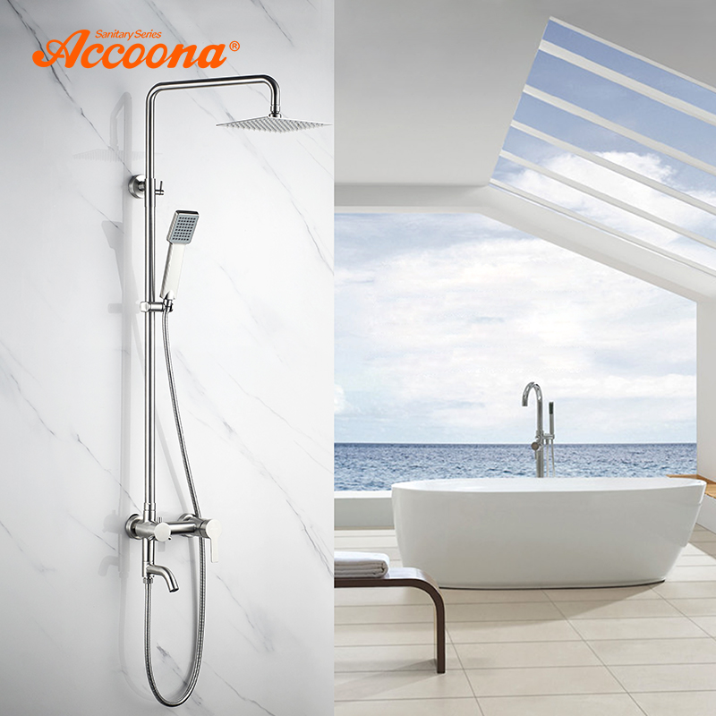 Accoona Bathroom Shower Faucet Set Rainfall Shower Head Tub Spout Sink Single Handle Mixer Tap 3 Way Bath Shower Faucets A8301
