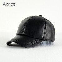 Aorice 2017 Neue Echtes Leder Verstellbare Feste Deluxe Baseball Ball Cap Marke männer Schwarz Golf Sport Hats/caps HL008