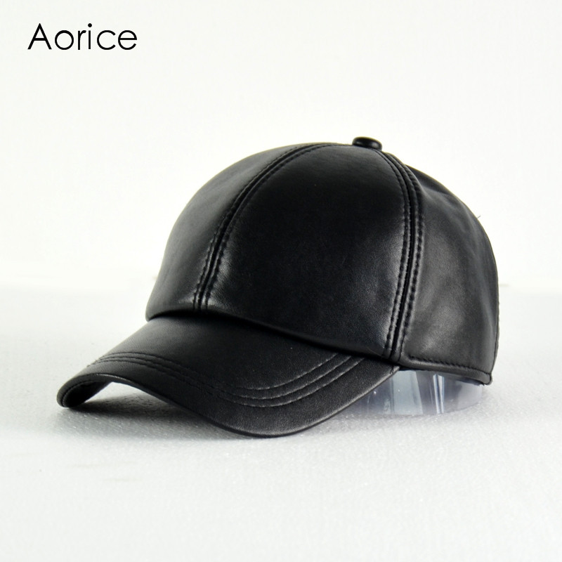 Aorice 2017 New Genuine Leather Adjustable Solid Deluxe Baseball Ball Cap Brand Men's Black Golf  Sport Hats/caps HL008 aorice genuine leather baseball cap men hats and caps solid color brown black leather leisure fashion travel biker hl187