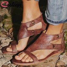 26927a4fd93e42 Coolcept Women Flats Sandals Summer Europe Zipper Rivets Wind Rivet Stitch  Casual Roman Women Sandals Size
