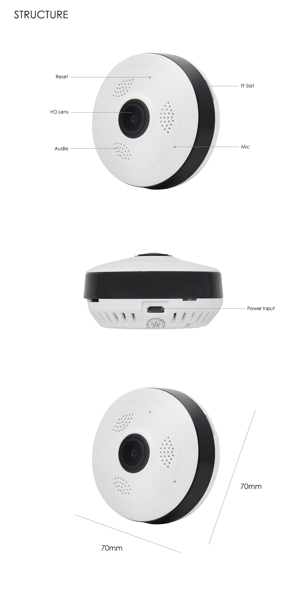 Wistino CCTV HD 960P WIFI IP Camera Alarm Wireless VR Panoramic Camera Fisheye 360 Degree Video Baby Monitor Home Surveillance (14)