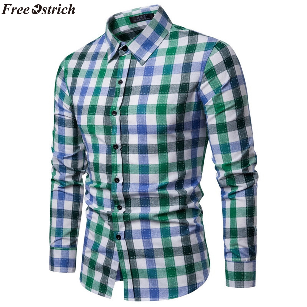 Long-Sleeved Pocket Slim Fit Lightweight Tops Casual Shirts for Mens Mens Plaid Shirt