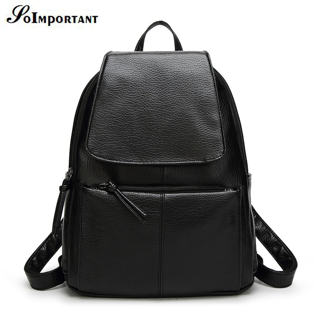New Hot PU Leather Women Big Backpacks Female Famous Brand Solid Cover Travel Backpack  Women High Quality Fashion School Bags