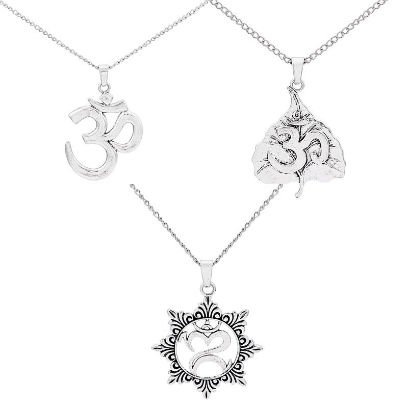 1Pcs Large Antique Sliver OM/OHM/AUM Symbol Yoga /Heart Charms Pendants Necklace With Long Metal Chain Jewelry