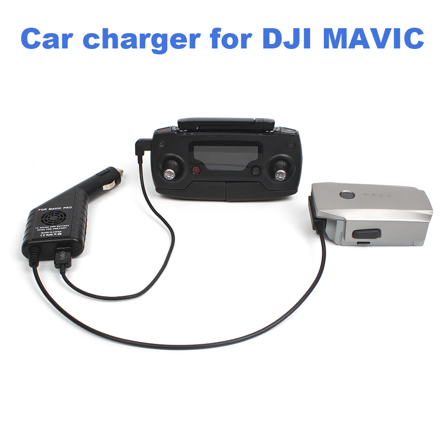 2 in 1 Car Charger for DJI Mavic Pro Platinum Drone Battery Remote Control Vehicle Charger Outdoor Travel Charging Accessories 3 in 1 portable car charger for dji phantom 4 pro 4a advanced camera drone for battery remote controller 12v vehicle charger