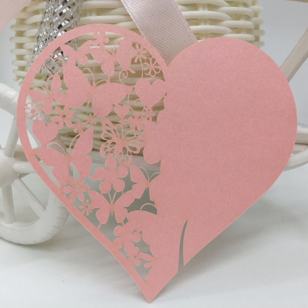 40pcs/set Heart Shape Mini Cup Card Carved Butterfly Flower Pattern ...