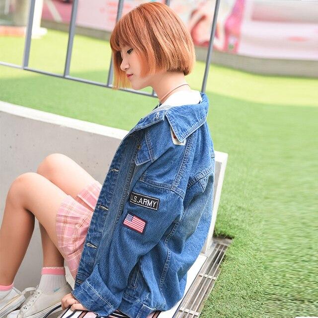 Негабаритных джинсовый жакет женщины Свободные разорвал патчи Значок сувенир Джинсовая куртка пальто Старинные Верхняя Одежда Женщин