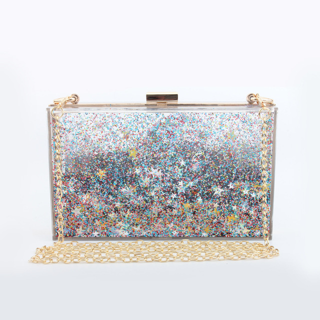 Multi Color Stars Sequins Women Clear Transpa Acrylic Evening Box Clutch Bag Las Hard Case Metal