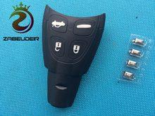 1 pçs de nova substituição chave escudo para saab 93 95 9-3 9-5 4 botão do carro remoto de borracha fob caso + 4 pçs micro interruptores acessórios
