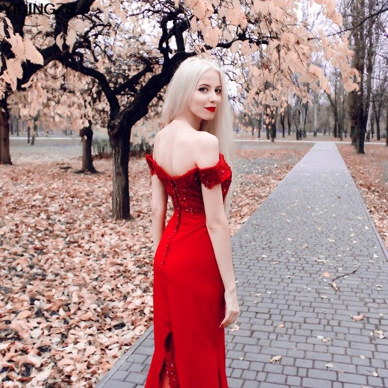 YIDINGZS Robe De Soiree sirena vino rojo largo vestidos De noche ...