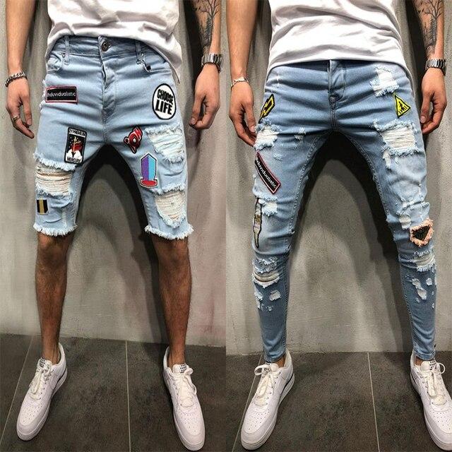 2018 חדש גברים Ripped במצוקה Slim Fit אלסטיות למתוח תיקוני זכר streetwear hiphop חור ג 'ינס מכנסיים Biker ינס מכנסיים