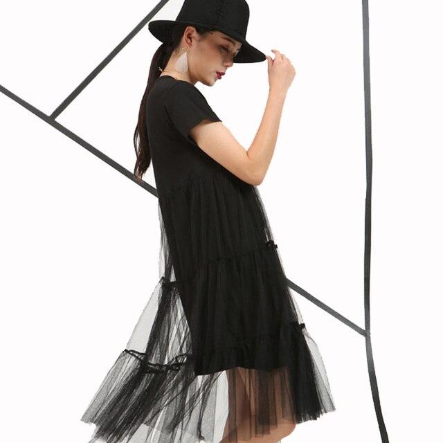 [Soonyour] 2017 de la moda de primavera nuevo estilo loose falso de dos de manga corta de encaje recto dress delgado hilo de red exuberante tamaño grande mujeres