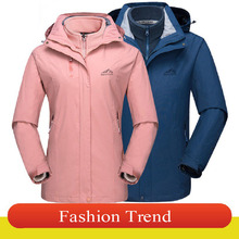 Autumn winter couples Jackets men and women three-in-one two-piece windproof waterproof breathable fishing suit outdoor ski suit 2018 new fishing clothing men and women autumn winter waterproof warm fishing jackets patchwork hooded mountaineering suits