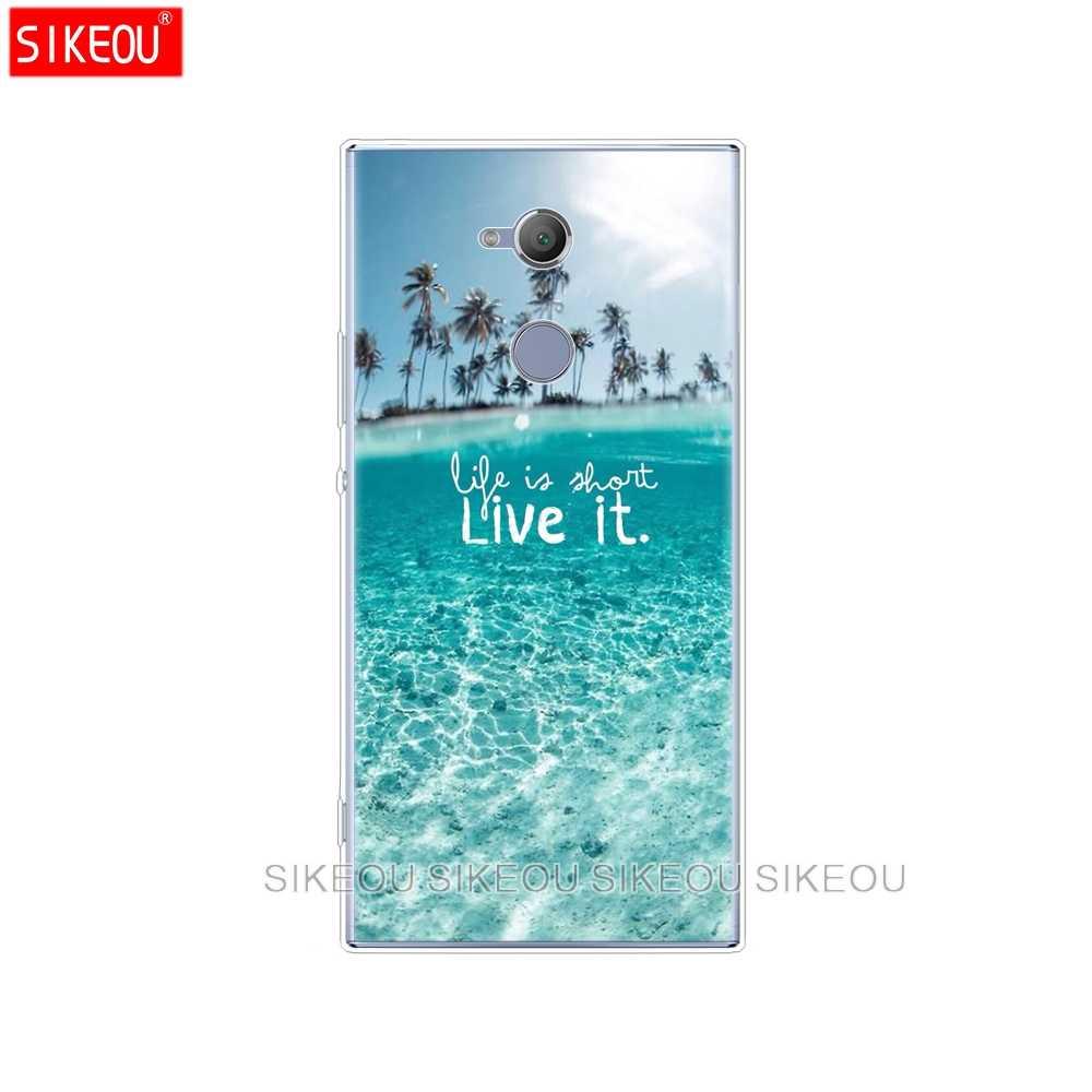 Silicone Cover phone Case voor sony xperia XA1 XA2 ULTRA PLUS L1 L2 XZ1 XZ2 compact XZ PREMIUM ocean wave zon maan set