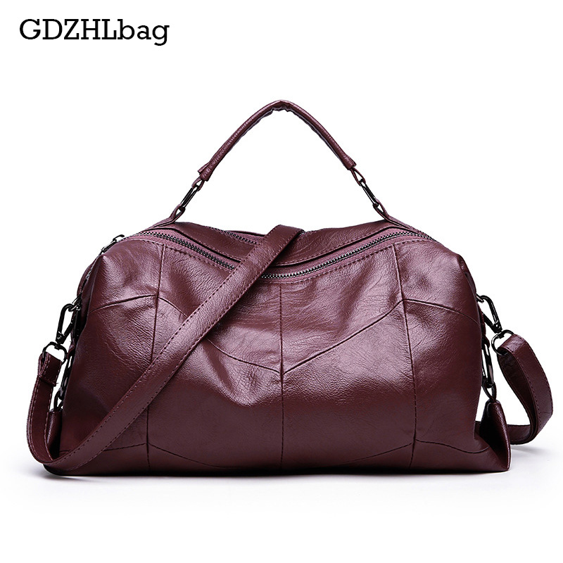 GDZHLbag Leather Boston Women Handbag Fashion Luxury Shoulder Bag Solid Zipper Women Pillow Travel bag Ladies Bag Bolsos B128