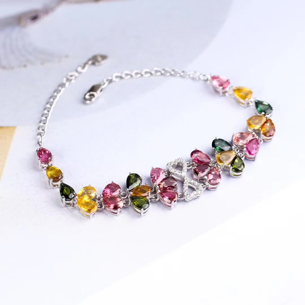 gemstone fine jewelry factory 2019 new-designed trendy  925 sterling silver natural colorful tourmaline bracelet for female 2