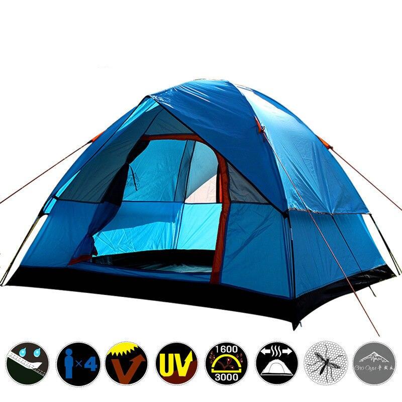 3-4 personne Brise-Vent tente de camping Double Couche Étanche Anti UV Tentes Touristiques pour En Plein Air Randonnée Plage Voyage