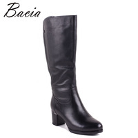 Bacia Winter Boots For Women Full Grian Leather Boots Heels 5 8cm Wool Fur Short Plush