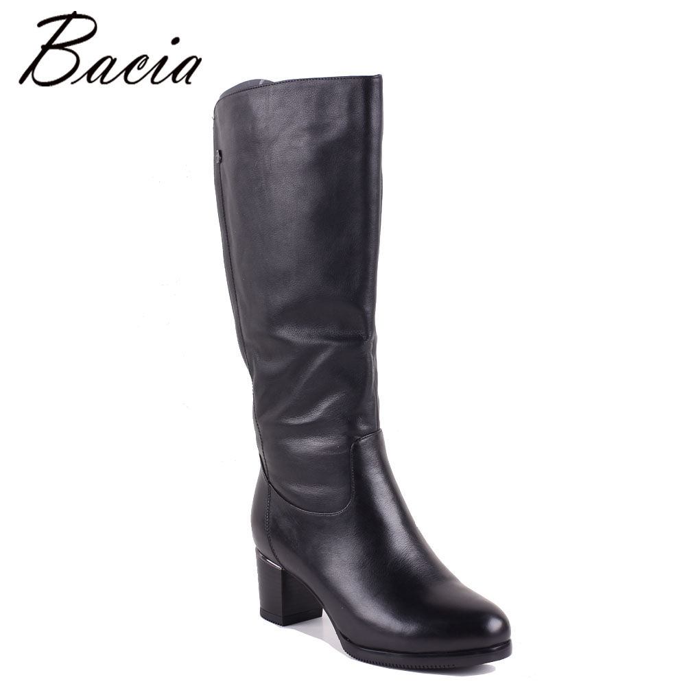 Bacia D'hiver bottes Pour Femmes en cuir Pleine fleur Bottes Talons 5.8 cm Laine Fourrure et Court En Peluche En Caoutchouc Semelles Russe chaussures chaudes MC015
