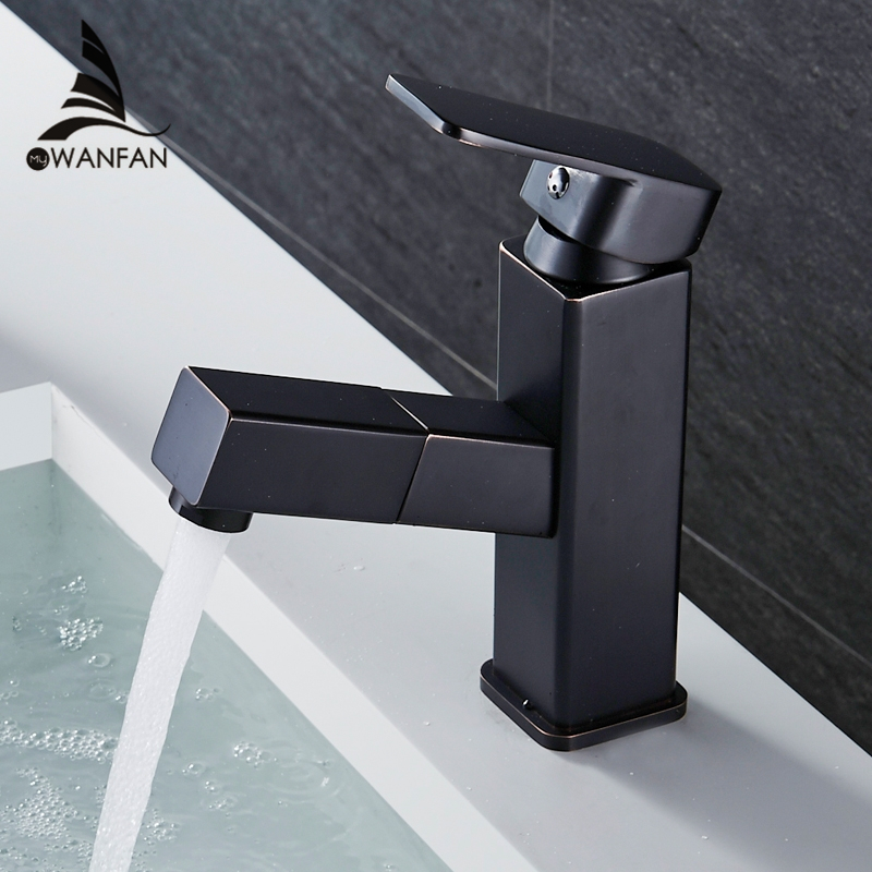 Basin Faucets Hot and Cold Water Bathroom Sink Tap Pull Out Swivel Single Handle Sink Faucet Brass Wash Basin Mixer Tap R16851 copper toilet wash basin faucet hot and cold bathroom sink basin faucet mixer water tap single hole basin faucet chrome plated