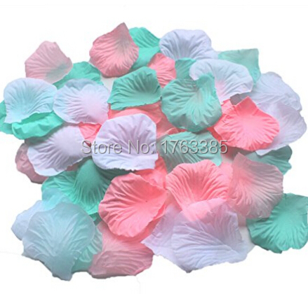 Set Of 600 Pink Mint White Silk Rose Petals Artificial Flowers
