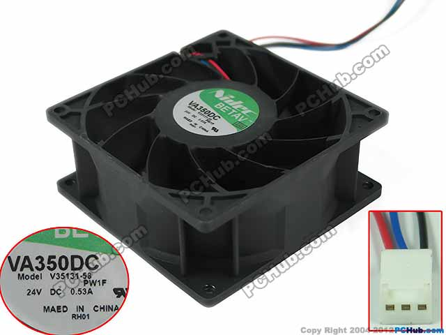 Nidec V35131-58, PW1F DC 24V 0.53A, 90x90x38mm    Server Square fan 231 35131