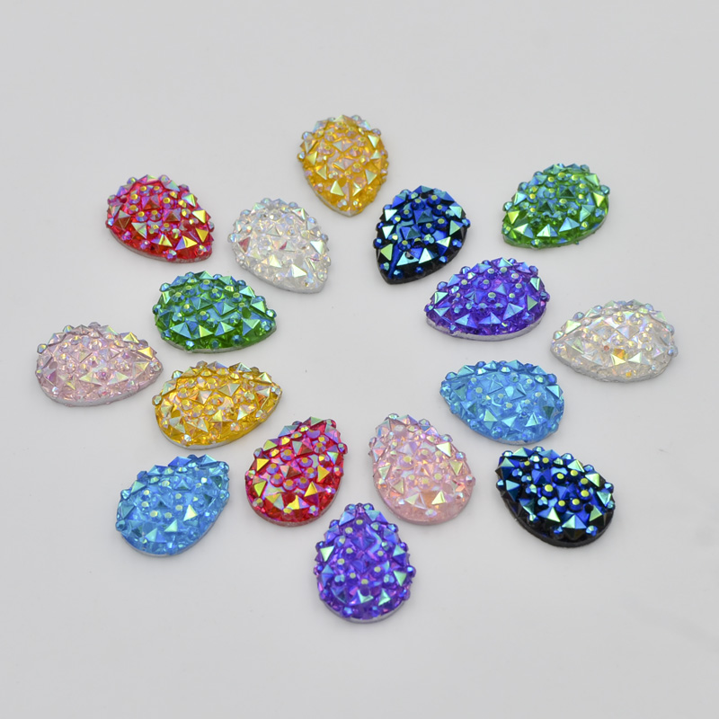 DIY 40pcs 10mm*14mm Resin drop FlatBack Rhinestone Scrapbooks crafts buttons