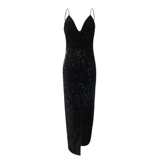 Sequins Dress Women Wrap Ruched Sleeveless Black Long Dress