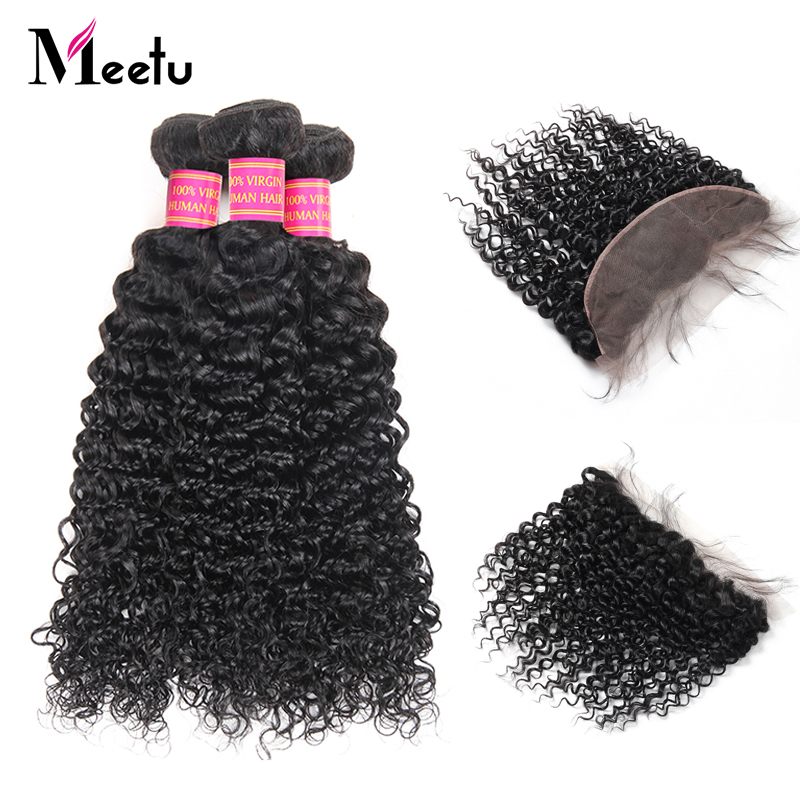 Meetu Indian Human Hair With Closure 3 Bundles Indian Kinky Curly Hair with Lace Frontal Baby