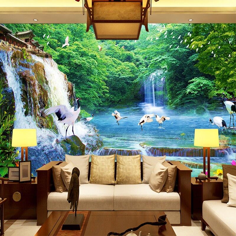②Custom 3d muurschildering crane landschap woonkamer sofa TV ...
