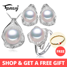FENASY s925 Sterling silver Freshwater Pearl Jewelry Sets for Women party Pearl Necklace/Earring/Rings Shell design Jewelry Set