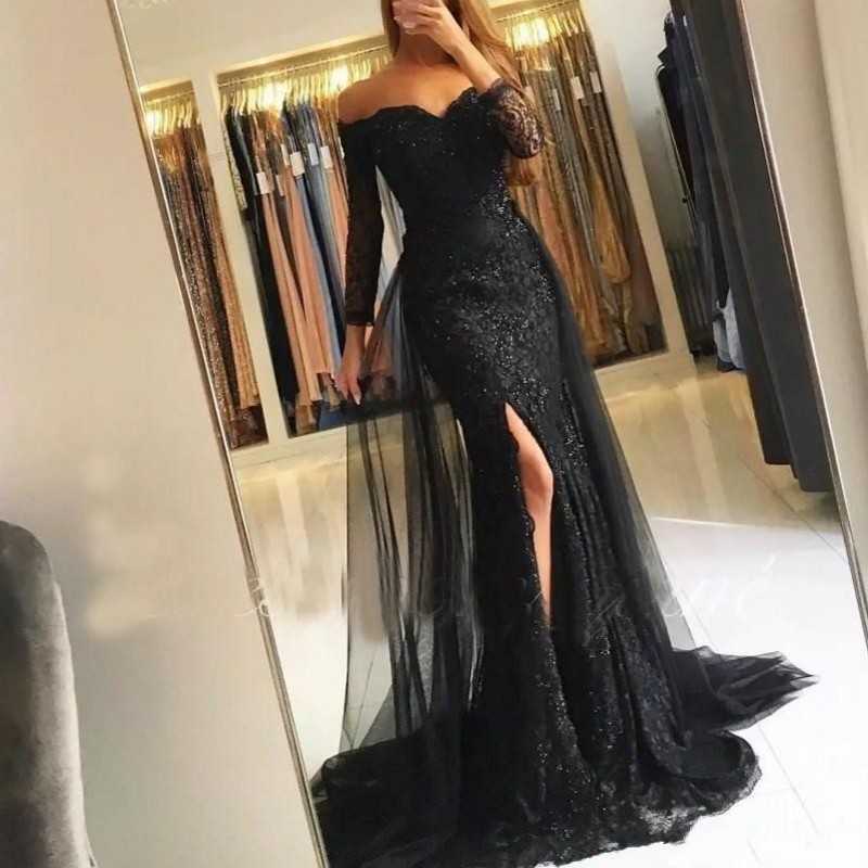 robe longue Custom Made   Evening     Dresses   Mermaid Long Robe De Soiree Full Sleeves V Neck Appliques   Evening     Dress   Removable Tail
